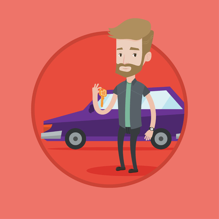 Hipster man holding keys to his new car. Happy man showing key to his new car. Young man standing on the backgrond of his new car. Vector flat design illustration in the circle isolated on background.