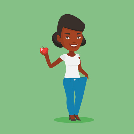 An african woman in oversized trousers holding an apple in hand. Slim woman showing the results of her diet. Concept of dieting and healthy lifestyle. Vector flat design illustration. Square layout. 일러스트