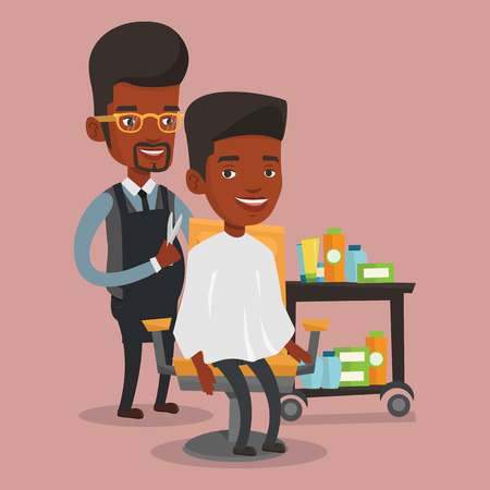 hair saloon: An african-american barber cutting hair of young man at barbershop. Professional hairdresser making haircut to a client with scissors in beauty saloon. Vector flat design illustration. Square layout. Illustration