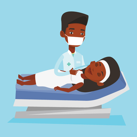 making face: An african woman lying on the couch in beauty salon and getting cosmetic dermal injection in her face. Doctor making beauty injections to female client. Vector flat design illustration. Square layout.