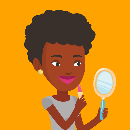 handglass: African-american woman doing makeup and looking in hand-mirror. Woman rouge lips with lipstick. Young woman paints her lips. Woman applying lips makeup. Vector flat design illustration. Square layout Illustration