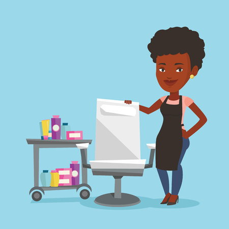 An african-american hairdresser standing near armchair and table with cosmetics in beauty saloon. Hairdresser standing at workplace in beauty saloon. Vector flat design illustration. Square layout. Illustration