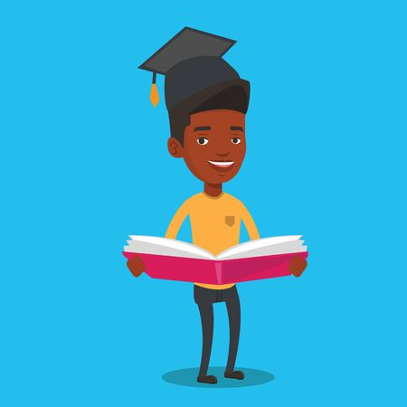 Happy graduate standing with a big open book in hands. Smiling male student in graduation cap reading a book. An african-american man holding a book. Vector flat design illustration. Square layout.