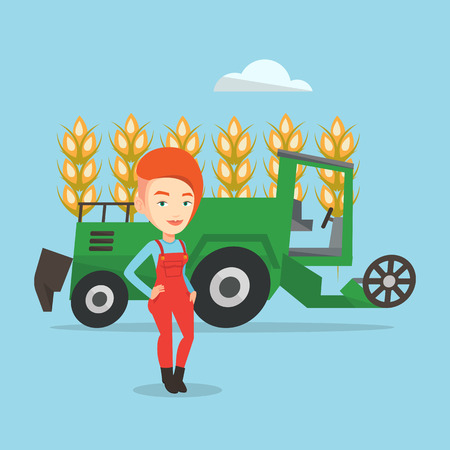 peasant woman: Female caucasian farmer standing on the background of combine harvester working in wheat field. Female farmer and combine harvester harvesting wheat. Vector flat design illustration. Square layout.