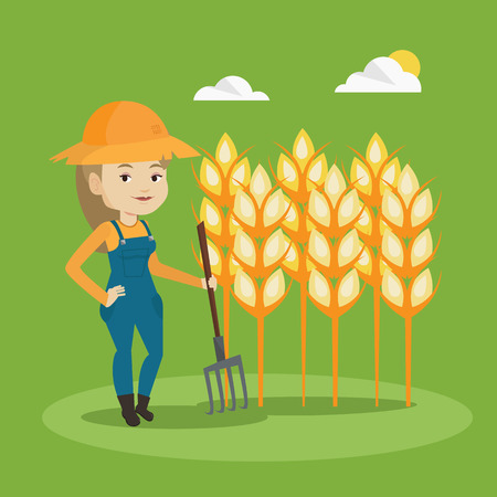 wheat field: Happy caucasian farmer in summer hat standing with a pitchfork on the background of wheat field. Female farmer working with pitchfork in wheat field. Vector flat design illustration. Square layout.