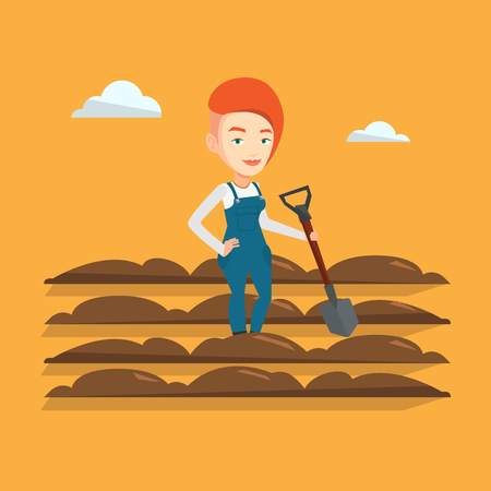 plow: Caucasian female farmer standing with shovel on the background of plowed field. Woman working in field with a shovel. Woman plowing field with a shovel. Vector flat design illustration. Square layout. Illustration