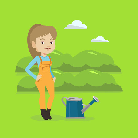 陽気な白人の女性の農民は緑の茂みで農業分野のバック グラウンドの水まき缶近くに立っています。女性は庭の植物に水をまきます。ベクトル フラ  イラスト・ベクター素材