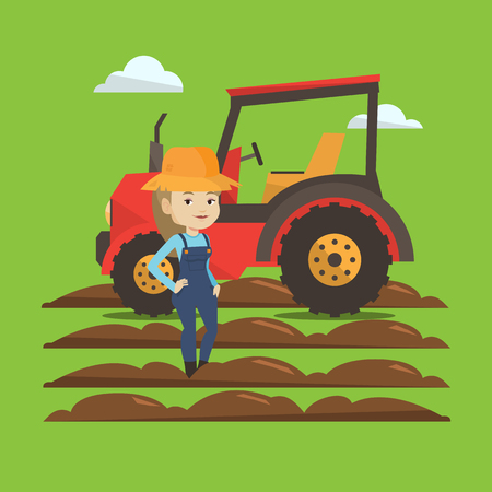 Caucasain happy female farmer in summer hat standing on the background of tractor preparing land. Young smiling farmer standing in front of tractor. Vector flat design illustration. Square layout. Ilustração