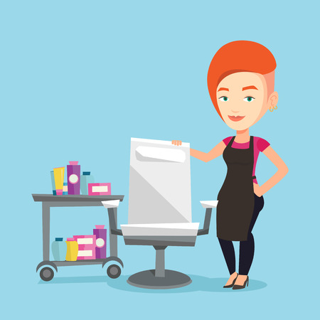 Young caucasian barber standing near armchair and table with cosmetics in barber shop. Professional female barber standing at workplace in barber shop. Vector flat design illustration. Square layout.