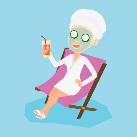幸せな女顔のマスクと美容室の長椅子で横になっている彼女の頭の上のタオル。女性サロンでリラックス。美容トリートメントを持つ少女。ベクトル フラットなデザイン イラスト。正方形のレイアウト。 写真素材 - 67916131