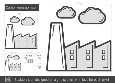 Carbon emission vector line icon isolated on white background. Carbon emission line icon for infographic, website or app. Scalable icon designed on a grid system. 矢量图像