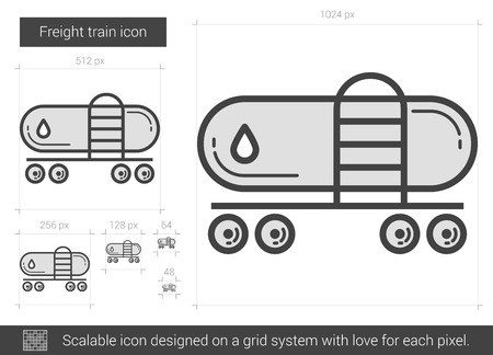 Vracht trein vector lijn pictogram geïsoleerd op een witte achtergrond. Freight train lijn icoon voor infographic, website of app. Schaalbaar pictogram dat is ontworpen op een roostersysteem. Stock Illustratie