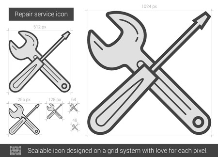 Repair service vector line icon isolated on white background. Repair service line icon for infographic, website or app. Scalable icon designed on a grid system. Stock Vector - 68209490