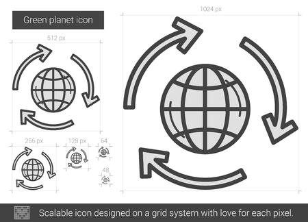 planeta verde: Icono verde línea de vector de planeta aislado sobre fondo blanco. Icono verde línea planeta por infografía, sitio web o aplicación. icono escalable diseñada en un sistema de red. Vectores
