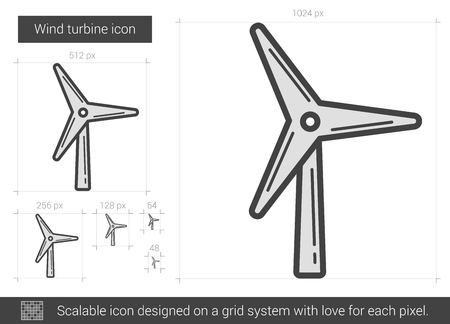 Turbina eolica icona linea vettoriale isolato su sfondo bianco. icona linea di turbina eolica per infografica, sito web o un'applicazione. icona scalabile progettata su un sistema a griglia.