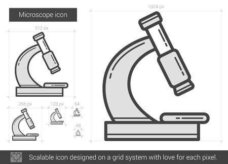 Microscope vector line icon isolated on white background. Microscope line icon for infographic, website or app. Scalable icon designed on a grid system. Stock Vector - 68209597