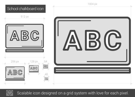 School chalkboard vector line icon isolated on white background. School chalkboard line icon for infographic, website or app. Scalable icon designed on a grid system. Illustration