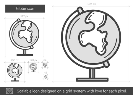 globe grid: Globe vector line icon isolated on white background. Globe line icon for infographic, website or app. Scalable icon designed on a grid system.