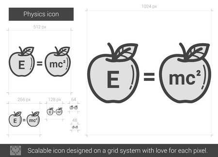 physicist: Physics vector line icon isolated on white background. Physics line icon for infographic, website or app. Scalable icon designed on a grid system.