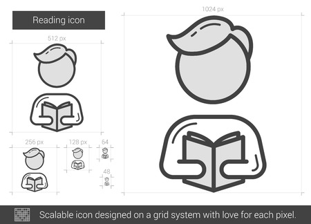 classbook: Reading vector line icon isolated on white background. Reading line icon for infographic, website or app. Scalable icon designed on a grid system.