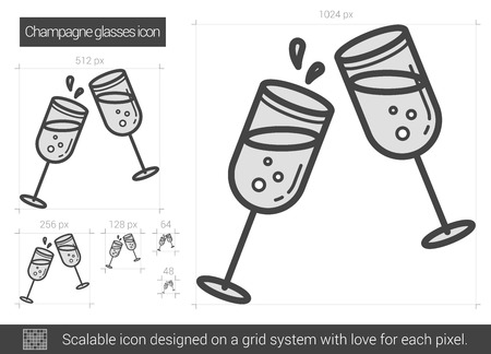 Champagne glasses vector line icon isolated on white background. Champagne glasses line icon for infographic, website or app. Scalable icon designed on a grid system.