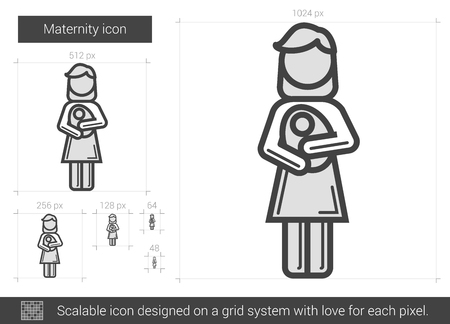 Maternity vector line icon isolated on white background. Maternity line icon for infographic, website or app. Scalable icon designed on a grid system. Ilustracja