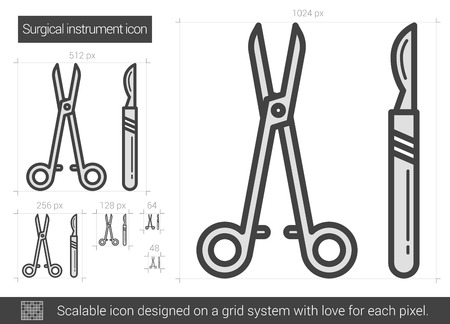 Surgical instruments vector line icon isolated on white background. Surgical instruments line icon for infographic, website or app. Scalable icon designed on a grid system. Иллюстрация