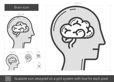 neuronal: Brain vector line icon isolated on white background. Brain line icon for infographic, website or app. Scalable icon designed on a grid system.