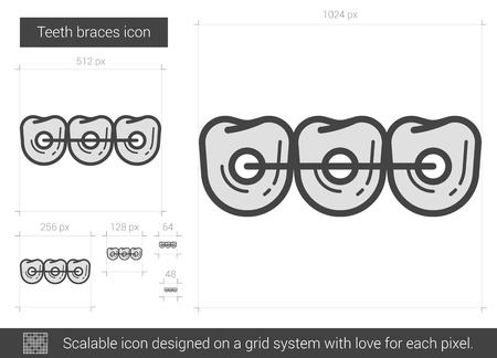 Teeth braces vector line icon isolated on white background. Teeth braces line icon for infographic, website or app. Scalable icon designed on a grid system. Ilustracja