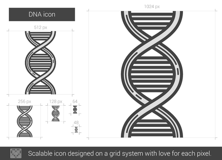 heredity: DNA vector line icon isolated on white background. DNA line icon for infographic, website or app. Scalable icon designed on a grid system.
