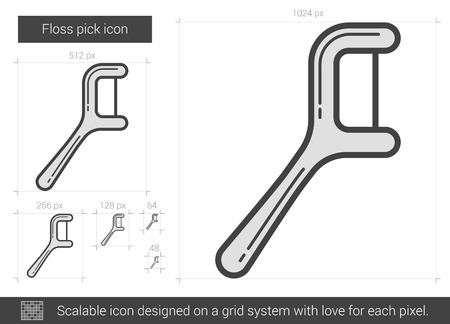 Floss pick vector line icon isolated on white background. Floss pick line icon for infographic, website or app. Scalable icon designed on a grid system. Ilustrace