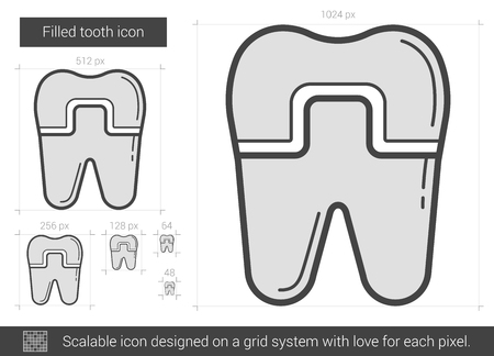 Filled tooth vector line icon isolated on white background. Filled tooth line icon for infographic, website or app. Scalable icon designed on a grid system. Stock Vector - 68463279