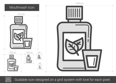 mouthwash: Enjuague bucal icono de la línea vector aislado en el fondo blanco. icono de la línea de enjuague bucal de infografía, sitio web o aplicación. icono escalable diseñada en un sistema de red. Vectores