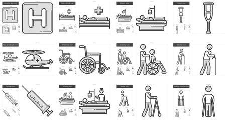 Médecine ligne vecteur icône ensemble isolé sur fond blanc. Médecine icône de la ligne définie pour infographie, site Web ou application. icon Scalable conçu sur un système de grille.