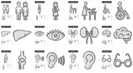 swaddling: Medicine vector line icon set isolated on white background. Medicine line icon set for infographic, website or app. Scalable icon designed on a grid system.