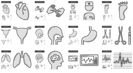 Medicina línea vectorial conjunto de iconos aislado sobre fondo blanco. icono de la línea de medicina conjunto de infografía, sitio web o aplicación. icono escalable diseñada en un sistema de red. Foto de archivo - 68463300