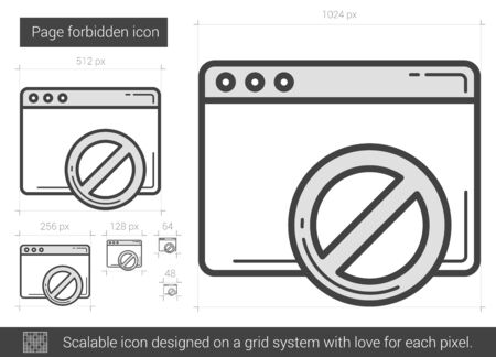 Page forbidden vector line icon isolated on white background. Page forbidden line icon for infographic, website or app. Scalable icon designed on a grid system. Illustration