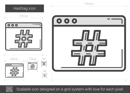 Hashtag vector line icon isolated on white background. Hashtag line icon for infographic, website or app. Scalable icon designed on a grid system. Illustration