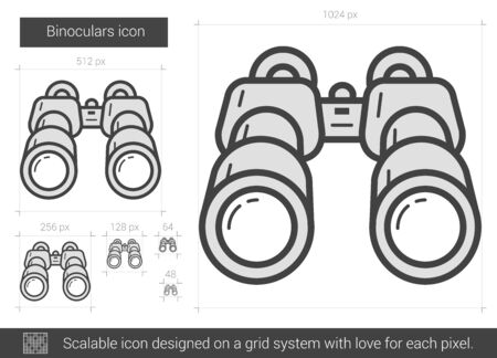 Binoculars vector line icon isolated on white background. Binoculars line icon for infographic, website or app. Scalable icon designed on a grid system. Ilustracja