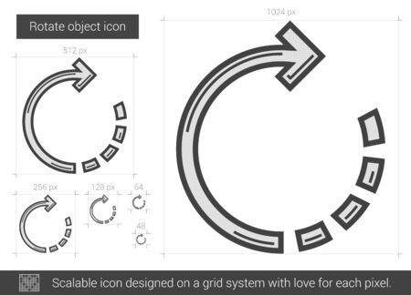 rotate: Rotate object vector line icon isolated on white background. Rotate object line icon for infographic, website or app. Scalable icon designed on a grid system.