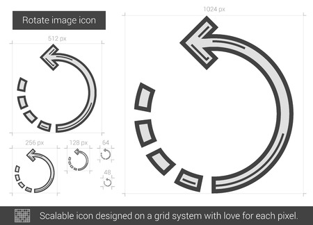 rotate: Rotate image vector line icon isolated on white background. Rotate image line icon for infographic, website or app. Scalable icon designed on a grid system. Illustration