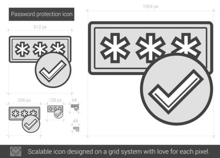 protection line: Password protection vector line icon isolated on white background. Password protection line icon for infographic, website or app. Scalable icon designed on a grid system. Illustration