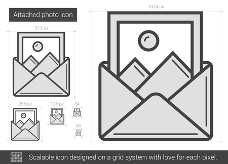 Attached photo vector line icon isolated on white background. Attached photo line icon for infographic, website or app. Scalable icon designed on a grid system. Reklamní fotografie - 68905418