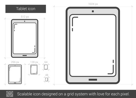 lcd display: Tablet vector line icon isolated on white background. Tablet line icon for infographic, website or app. Scalable icon designed on a grid system.