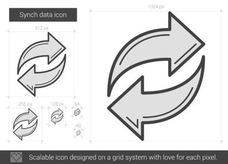 circling: Synch data vector line icon isolated on white background. Synch data line icon for infographic, website or app. Scalable icon designed on a grid system.