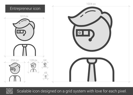 Entrepreneur vector line icon isolated on white background. Entrepreneur line icon for infographic, website or app. Scalable icon designed on a grid system. Illustration