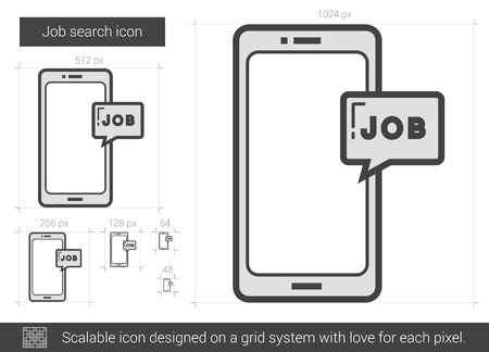 Job search vector line icon isolated on white background. Job search line icon for infographic, website or app. Scalable icon designed on a grid system. Illustration