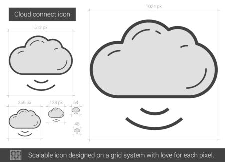 Cloud connect vector line icon isolated on white background. Cloud connect line icon for infographic, website or app. Scalable icon designed on a grid system. Illustration
