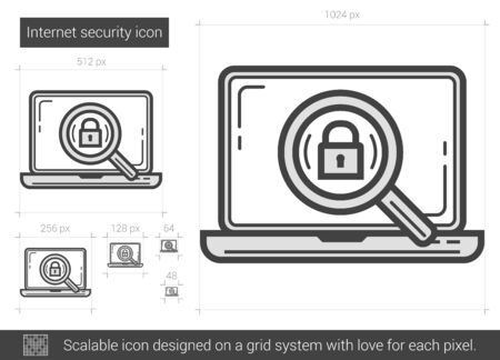 Internet security vector line icon isolated on white background. Internet security line icon for infographic, website or app. Scalable icon designed on a grid system. Stock Illustratie