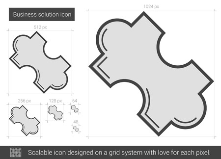 Business solution vector line icon isolated on white background. Business solution line icon for infographic, website or app. Scalable icon designed on a grid system.